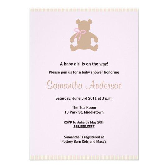 Chic Teddy Bear Baby Shower Invitation - Girl
