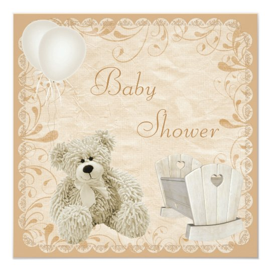 Chic Teddy & Crib Neutral Baby Shower Card