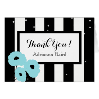 CHIC THANK YOU NOTE_MOD AQUA POPPIES & STRIPES CARD