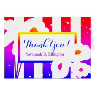CHIC THANK YOU NOTE_MOD COLORFUL POPPIES/STRIPES CARD