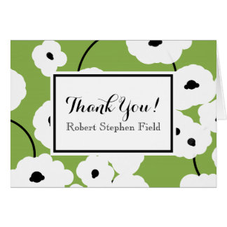 CHIC THANK YOU NOTE_MOD WHITE POPPIES CARD