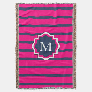 CHIC THROW_435 NAVY/HOT PINK STRIPES #2 THROW BLANKET