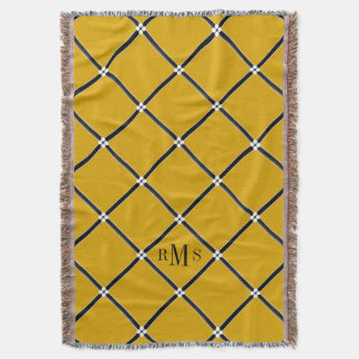 CHIC THROW_43 GOLD/BLACK/WHITE LATTICE PATTERN THROW BLANKET