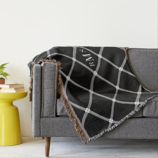 CHIC THROW_BLACK/GREY/WHITE LATTICE PATTERN THROW BLANKET