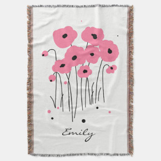 CHIC THROW_MOD 241 PINK & BLACK POPPIES THROW BLANKET