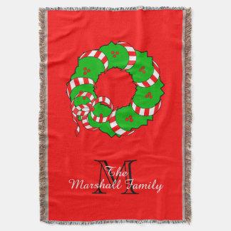 CHIC THROW_MODERN FAMILY CHRISTMAS WREATH THROW BLANKET