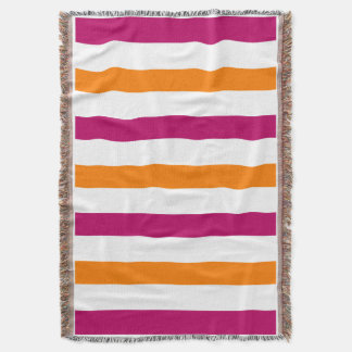 CHIC THROW_ORANGE/RASBERRY/WHITE STRIPES THROW BLANKET
