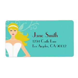 Chic Tiffany Blue Bridal Shower [Blonde Bride] Shipping Label