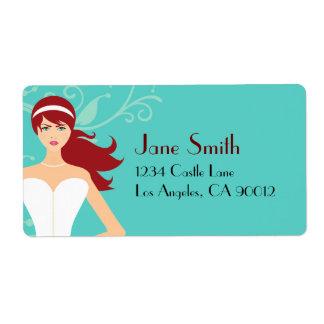 Chic Tiffany Blue Bridal Shower [Redhead Bride] Shipping Label