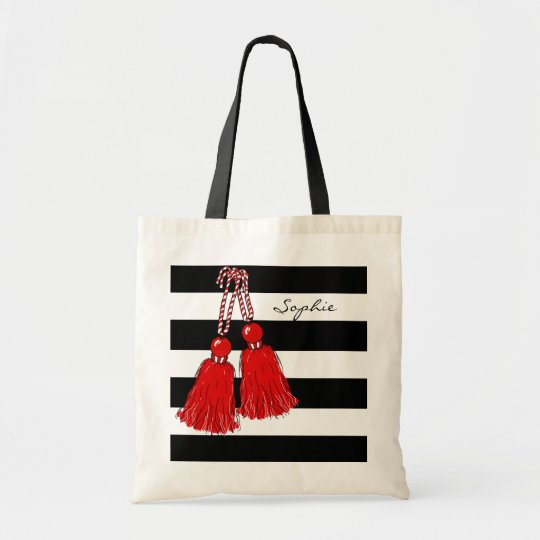 CHIC TOTE_CHRISTMAS RED TASSELS_BLACK STRIPES TOTE BAG