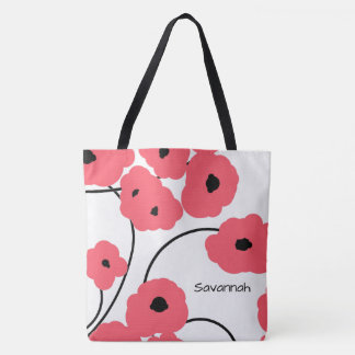 CHIC TOTE_MOD CORAL & BLACK POPPIES TOTE BAG