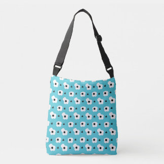 CHIC TOTE_MOD WHITE AND BLACK FLORAL ON AQUA CROSSBODY BAG