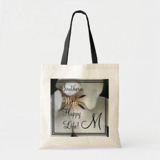 "CHIC TOTE-""SOUTHERN WIFE HAPPY LIFE""  FLORAL TOTE BAG"