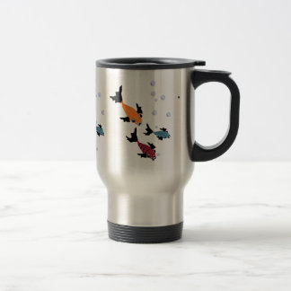 CHIC  TRAVEL MUG_3 SWIMMING FISH STAINLESS STEEL TRAVEL MUG