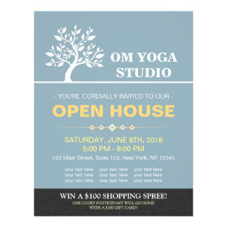 Chic Tree Yoga Instructor Therapy Salon Open House Flyer
