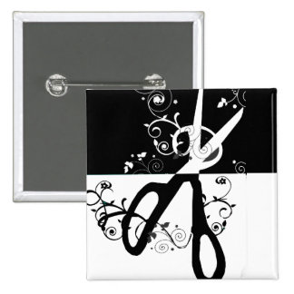 Chic Trendy  Black White Scissors Fashion 15 Cm Square Badge