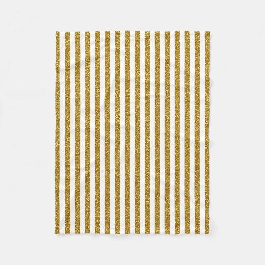 Chic Trendy Gold White Stripes Glitter Photo Print