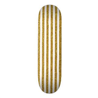 Chic Trendy Gold White Stripes Glitter Photo Print Skateboard
