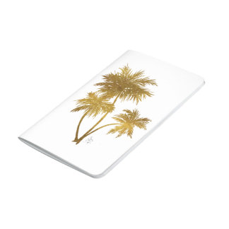 Chic Trendy Metallic Gold Palm Trees Journal