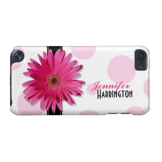 Chic Trendy Pink Gerbera Daisy Polka Dot iPod Touch (5th Generation) Cases
