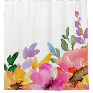 Chic Trendy Spring Florals Watercolor Pink Peach Shower Curtain