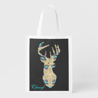 Chic Trendy Stag Deer Personalized Reusable Grocery Bag