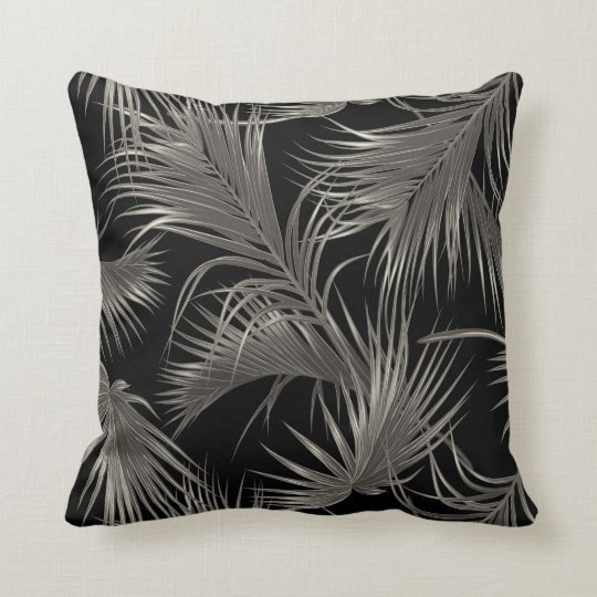 Chic Tropical Palm Fronds Pattern on Black Cushion