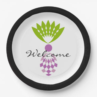 "CHIC TROPICAL ""WELCOME"" MOD PURPLE PINEAPPLE PAPER PLATE"