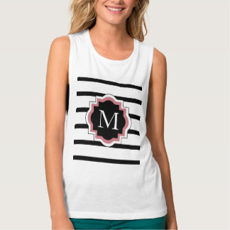 CHIC TSHIRT_ PREPPY PINK/BLACK ON BLACK STRIPES FLOWY MUSCLE TANK TOP