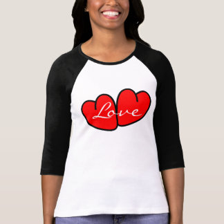 CHIC TSHIRT_ RED VALENTINE HEARTS_LOVE TEXT TSHIRTS