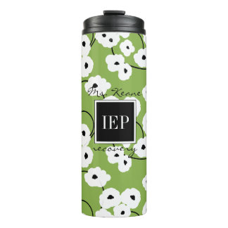 CHIC TUMBLER_MOD FLORAL WHITE & BLACK POPPIES THERMAL TUMBLER