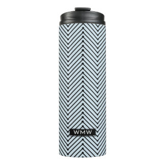 CHIC TUMBLER_MODERN BLACK ZIGZAG ON BLUE_DIY COLOR THERMAL TUMBLER