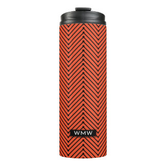 CHIC TUMBLER_MODERN BLACK ZIGZAG ON PANTONE FLAME THERMAL TUMBLER
