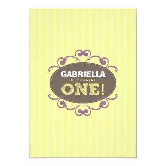 Chic Turning 1 Birthday Party Invitation (yellow)