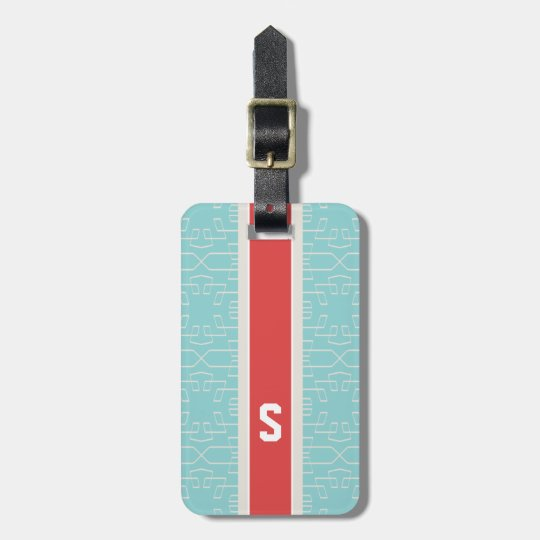 Chic turquoise abstract geometric pattern monogram luggage tag