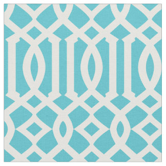 Chic Turquoise and White Trellis Lattice Pattern Fabric