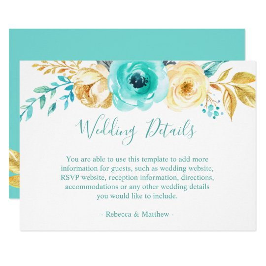 Chic Turquoise Gold Floral Wedding Details Info Card