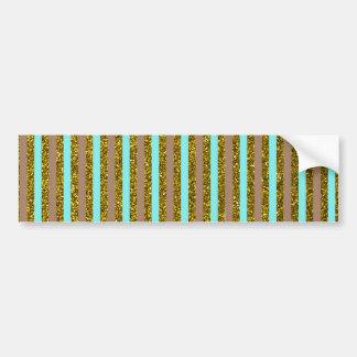Chic Turquoise Gold Stripes Glitter Photo Print Bumper Sticker