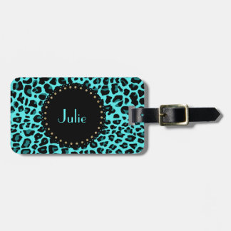 Chic Turquoise Leopard Print Luggage Tag