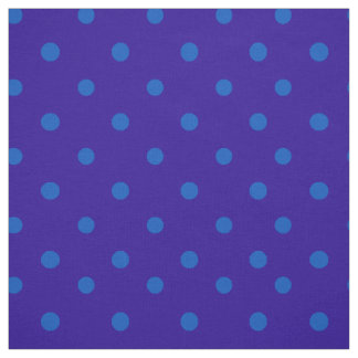 Chic Turquoise on Midnight Blue Polka Dots Pattern Fabric