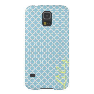 chic turquoise pattern with lemon text galaxy s5 covers