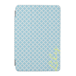 chic turquoise pattern with lemon text iPad mini cover