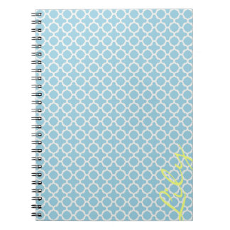 chic turquoise pattern with lemon text notebook
