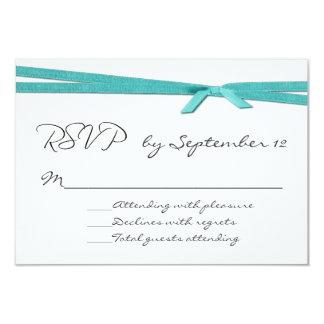 Chic Turquoise Ribbon Wedding RSVP Card 9 Cm X 13 Cm Invitation Card