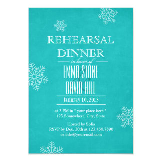 Chic Turquoise Snowflakes Wedding Rehearsal Dinner 5x7 Paper Invitation Card