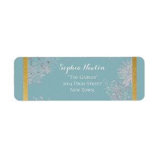 Chic turquoise wedding return address label