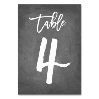 Chic Typography Chalkboard Table Number | Table 4 Table Cards