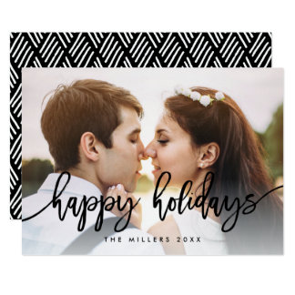 Chic Typography Happy Holidays Photo Card