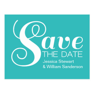 Chic Typography Save the Date Postcard, Aqua Postcard
