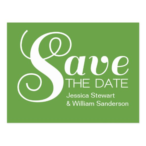 Chic Typography Save the Date Postcard, Green